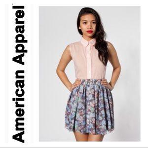 Floral Chiffon Double Layered Shirred-Waist Skirt